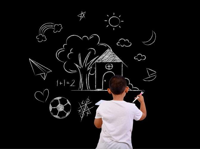 Boy drawing on blackboard
