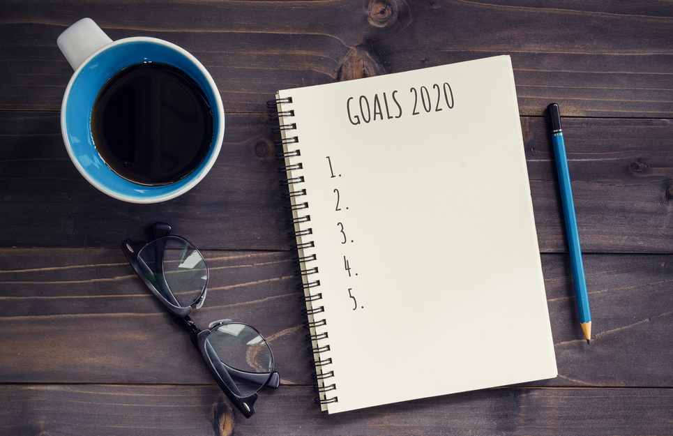 Notebook with page for 2020 goals