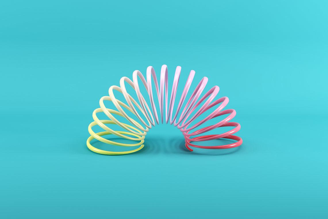 Colorful slinky represents mental flexibility