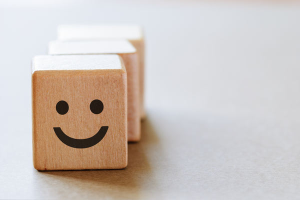 Happy face on dice side