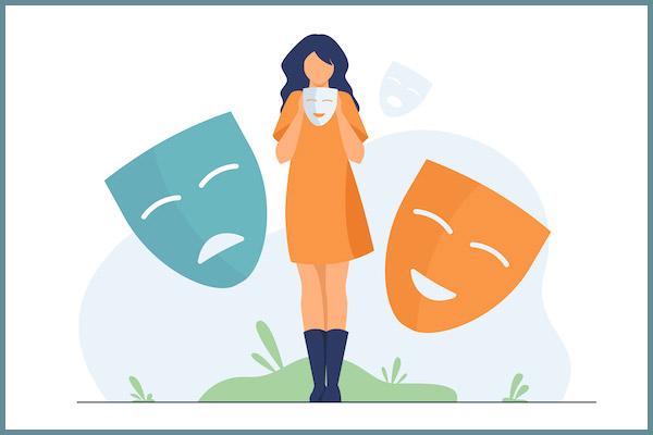 woman changing mask